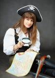 玻璃扩大化的映射海盗开会 图库摄影