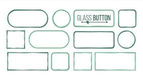 玻璃按钮,框架传染媒介 正方形,回合,长方形 玻璃板元素 现实板材 塑料横幅 皇族释放例证