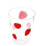 玻璃查出的草莓 库存照片