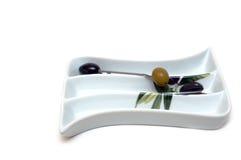 玻璃橄榄色快餐商品 库存图片