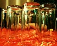 玻璃橙色桌布 库存照片