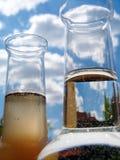 玻璃水瓶干净的坏的水 免版税图库摄影