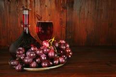 玻璃水瓶红葡萄酒 图库摄影