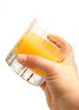 玻璃汁液桔子 库存照片