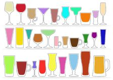玻璃汇集象与色的饮料的 也corel凹道例证向量 免版税库存照片