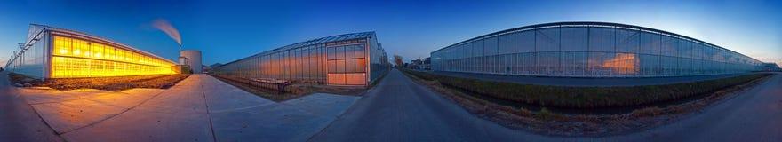 玻璃温室全景 图库摄影