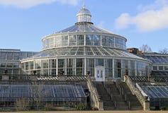 玻璃温室在哥本哈根植物园里  库存图片