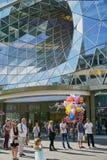 玻璃漩涡建筑学在法兰克福德国 免版税库存图片