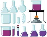 玻璃烧杯的不同的类型科学的试验 向量例证