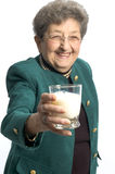玻璃牛奶妇女 免版税库存照片