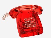 玻璃状电话红色 免版税库存照片