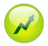 玻璃状绿色图标利润 免版税库存照片