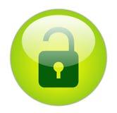 玻璃状绿色图标开锁 免版税库存图片