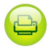 玻璃状绿色图标打印机 免版税库存图片