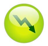 玻璃状绿色图标损失 免版税图库摄影