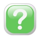 玻璃状绿色图标标记问题正方形 库存照片