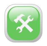 玻璃状绿色图标正方形工具 免版税图库摄影