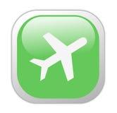 玻璃状绿色图标正方形旅行 免版税库存照片