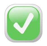 玻璃状绿色图标正方形滴答声 库存图片