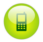 玻璃状绿色图标移动电话 免版税库存照片