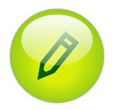 玻璃状绿色图标铅笔 免版税库存照片