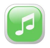 玻璃状绿色图标音乐正方形 免版税库存照片