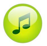 玻璃状绿色图标音乐 免版税库存照片