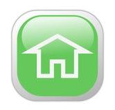 玻璃状绿色家庭图标正方形 免版税库存图片
