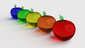 玻璃状苹果,发光的苹果,3d模型 五颜六色的玻璃状苹果 蓝色,绿色,黄色,橙色和红色3D苹果 免版税库存照片