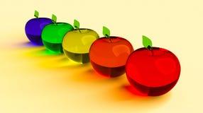 玻璃状苹果,发光的苹果,3d模型 五颜六色的玻璃状苹果 蓝色,绿色,黄色,橙色和红色3D苹果 免版税库存图片