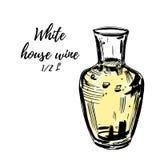 玻璃玻璃水瓶充满白葡萄酒, isolted在白色 向量手拉的例证 向量例证