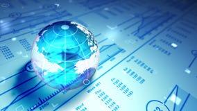 玻璃球形,地球,市场图趋向 使成环的3d动画 库存例证