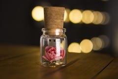 玻璃瓶子栓与丝带 停止者USB闪光驱动,原始的一刹那驱动 烧瓶的罗斯 玻璃USB闪光驱动 婚礼闪光 免版税图库摄影