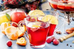 玻璃瓶子用被仔细考虑的酒 热的酒为冬天 被仔细考虑的酒,拳打,酒 果子热茶 库存照片