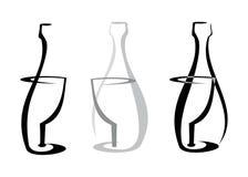 玻璃瓶白葡萄酒 免版税库存照片