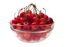 玻璃碗的樱桃 免版税库存图片