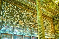 玻璃窗的装饰品在Golestan,德黑兰 图库摄影