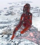 玻璃红色妇女 免版税库存图片
