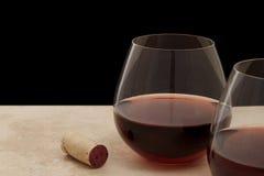 玻璃红色无茎的酒 免版税库存图片