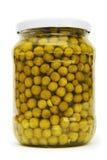 玻璃绿色查出的瓶子豌豆 免版税库存图片