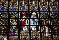 玻璃耶稣・玛丽亚弄脏了 免版税库存照片