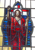 玻璃耶稣被弄脏 库存照片