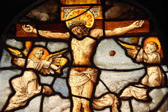玻璃耶稣被弄脏 库存图片