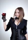玻璃肉欲的酒妇女 免版税库存照片