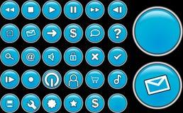 玻璃蓝色的按钮 库存图片