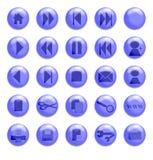 玻璃蓝色的按钮 库存照片