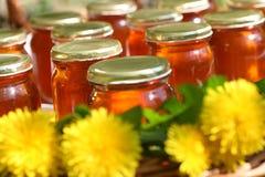 玻璃蜂蜜 库存照片