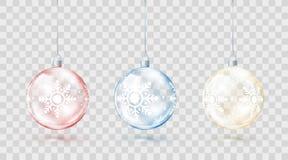 玻璃透明圣诞节球模板  元素圣诞节装饰 有金黄红色和蓝色焕发的发光的五颜六色的玩具 库存例证