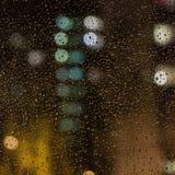 玻璃雨珠视窗 从窗口的看法 库存图片