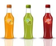 玻璃饮料瓶集合 新鲜的汁液,柠檬水,在现实, 3d喝样式 您的产品设计的大模型 库存例证